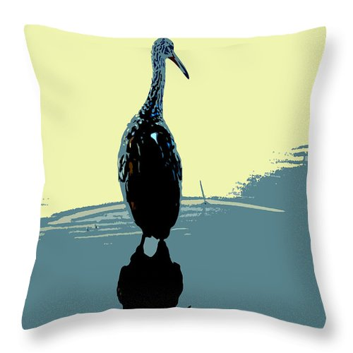 Bird Throw Pillow featuring the photograph Limp Kin In Color by David Lee Thompson