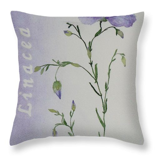 Flower Throw Pillow featuring the painting Linacea by Ruth Kamenev