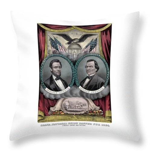 Abraham Lincoln Throw Pillow featuring the painting Lincoln And Johnson Election Banner 1864 by War Is Hell Store