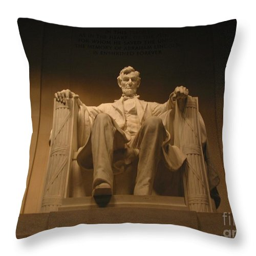 Abraham Lincoln Throw Pillow featuring the photograph Lincoln Memorial by Brian McDunn