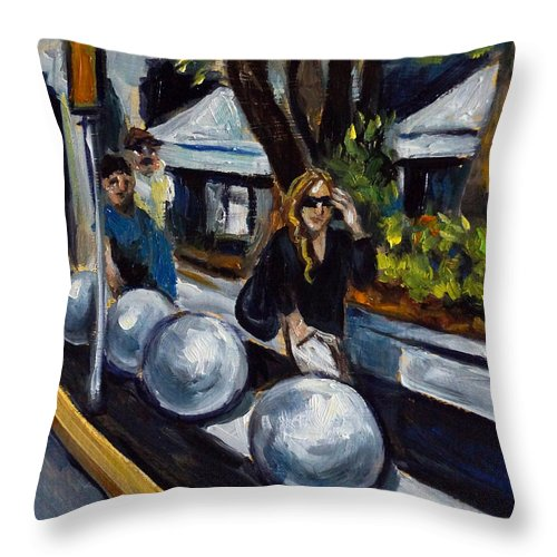 Shopping Throw Pillow featuring the painting Lincoln Road by Valerie Vescovi