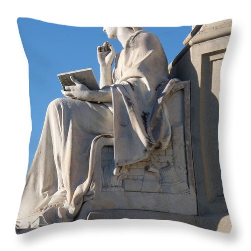 Lincoln Throw Pillow featuring the painting lincoln statue Gettysburg PA by Eric Schiabor