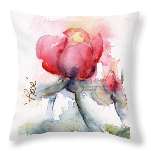 Watercolor Throw Pillow featuring the painting Linda's Rose Watercolor by CheyAnne Sexton