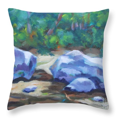Expressionist Landscape Throw Pillow featuring the painting Lindenlure by Jan Bennicoff