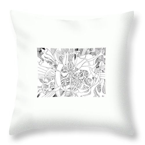 Botanic Botanical Blackandwhite Black And White Zentangle Zen Tangle Abstract Acceptance Circles Comfort Comforting Detailed Drawing Dreams Earth Throw Pillow featuring the painting Mindfulness by Charles Cater