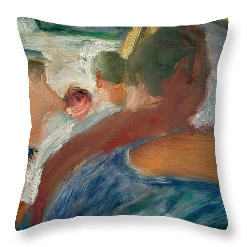 Dornberg Throw Pillow featuring the painting Line At The Bar by Bob Dornberg