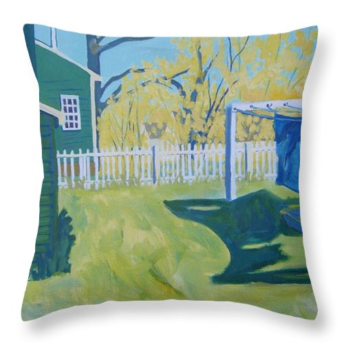 Backyard Throw Pillow featuring the painting Line Of Wash by Debra Bretton Robinson