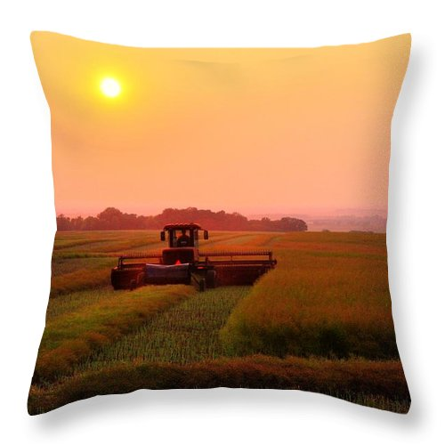 Threshing Fields Sunflowers Sunsets Smoke Smote Haze Sun Haze Moods Harvest Fall Reaping Farming Crops Wheat Days End Combine Moon Throw Pillow featuring the photograph Line To Night by David Matthews