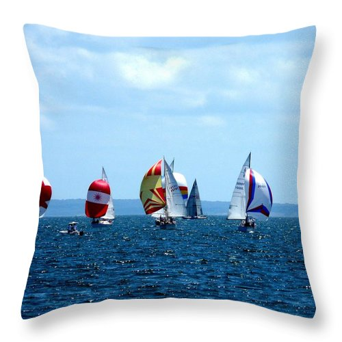 Landscape Throw Pillow featuring the photograph Line Up by Kendall Eutemey