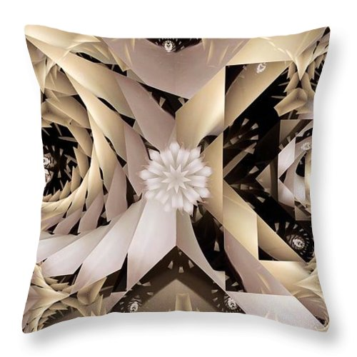 Abstract Throw Pillow featuring the digital art Linen and Silk by Ron Bissett