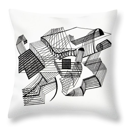 Line Throw Pillow featuring the drawing Lines by Andy Mercer