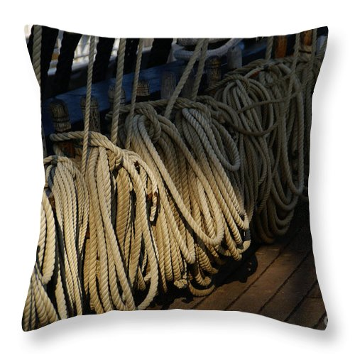Maritime Throw Pillow featuring the photograph Lines by Linda Shafer