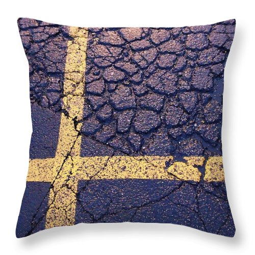 Asphalt Throw Pillow featuring the photograph Lines On Asphalt I by Anna Villarreal Garbis