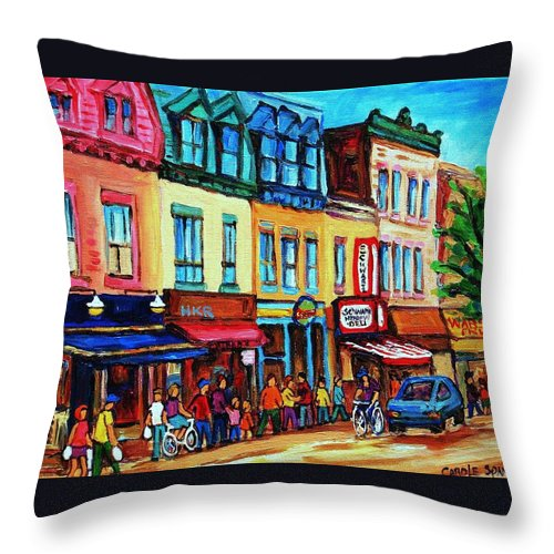 Cityscape Throw Pillow featuring the painting Lineup For Smoked Meat Sandwiches by Carole Spandau