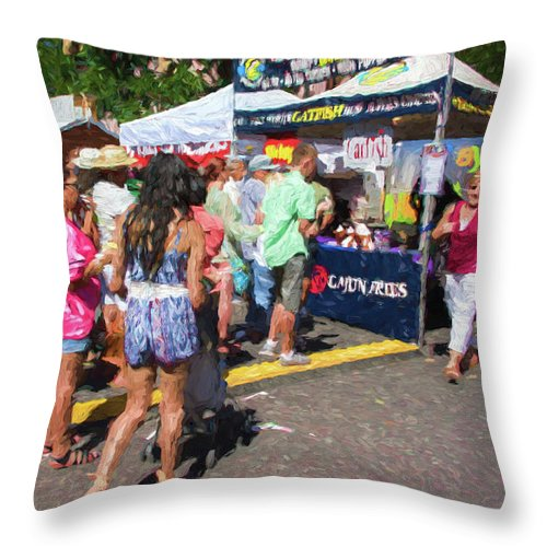 Pecan Street Festival Throw Pillow featuring the photograph Lining Up For Cajun Food by JG Thompson