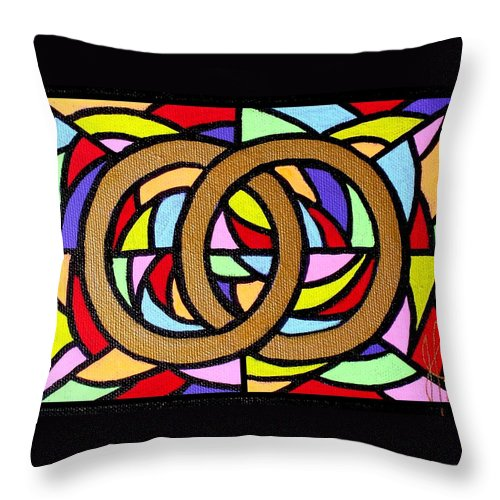Wedding Throw Pillow featuring the painting Linked by Jim Harris