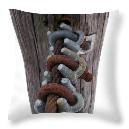 Cable Throw Pillow featuring the photograph Linked by Sara Raber