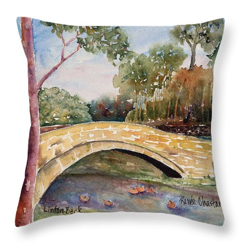 Linton Throw Pillow featuring the painting Linton Beck Yorkshire by Renee Chastant