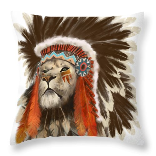 Lion Throw Pillow featuring the painting Lion Chief by Sassan Filsoof