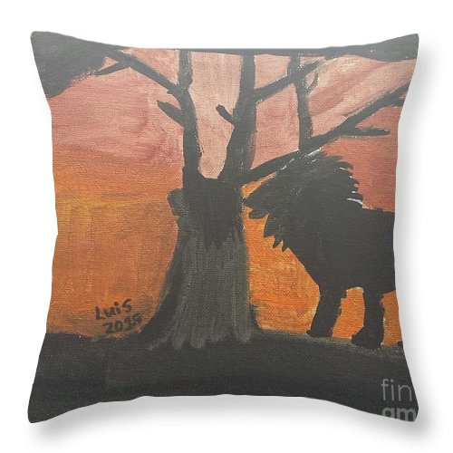 Lion Art Throw Pillow featuring the painting Lion by Epic Luis Art