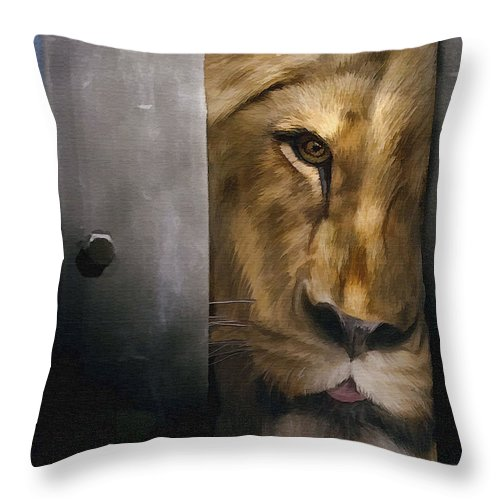 Lion Throw Pillow featuring the photograph Lion Eye by Sharon Foster
