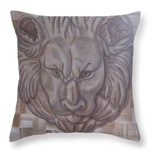 Lion Throw Pillow featuring the painting Lion Head by Emily Young