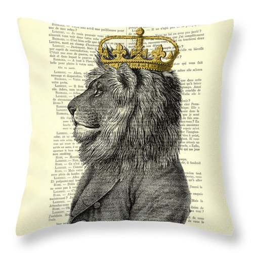 Lion Throw Pillow featuring the digital art Lion King by Madame Memento