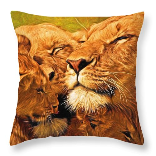 Lion Throw Pillow featuring the painting Lion Love #2 by Will Barger