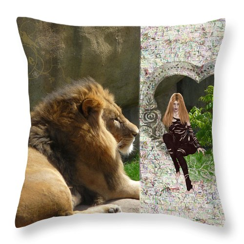 Lion Throw Pillow featuring the photograph Lion Love by RiaL Treasures