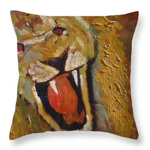Lion Throw Pillow featuring the painting Lion one by J Bauer