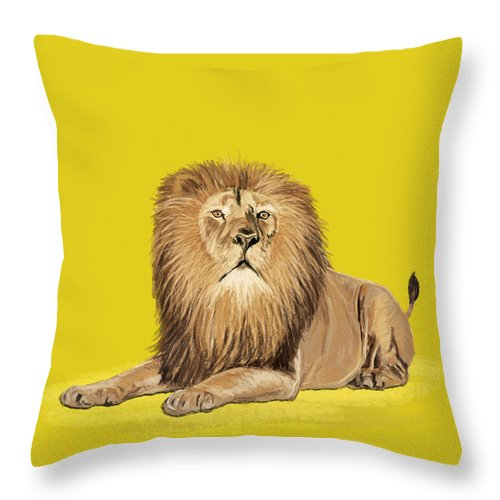 Africa Throw Pillow featuring the painting Lion Painting by Setsiri Silapasuwanchai