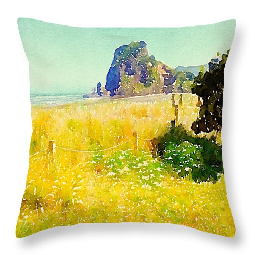 Lion Rock Throw Pillow featuring the digital art Lion Rock Painted Photo by Clive Littin
