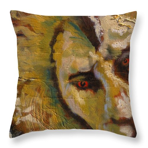 Lion Throw Pillow featuring the painting Lion three by J Bauer