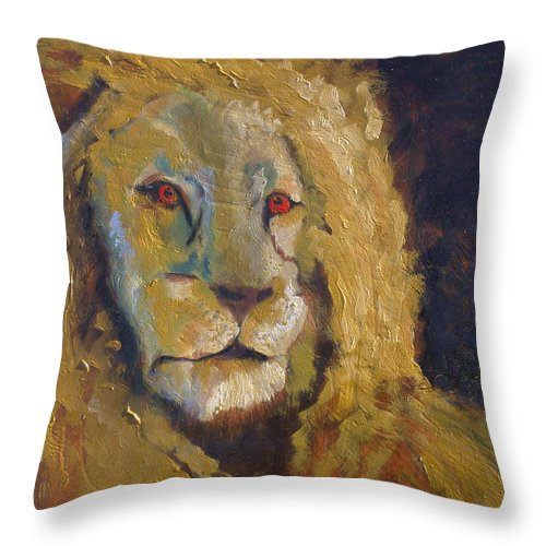 Lion Throw Pillow featuring the painting Lion two by J Bauer