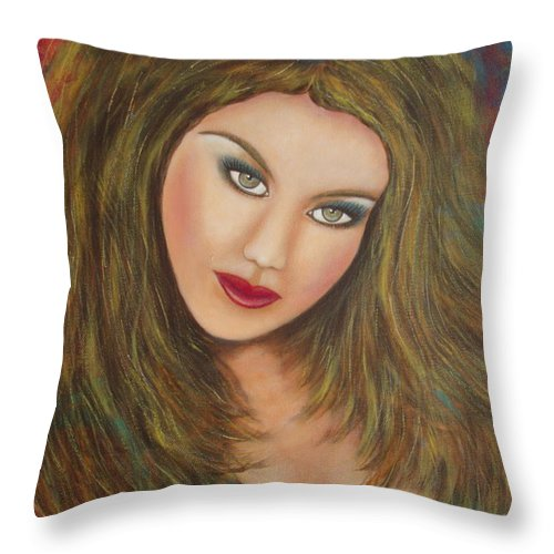 Portrait Throw Pillow featuring the painting Lioness by Natalie Holland