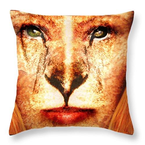 Lioness Throw Pillow featuring the digital art Lioness by Robert Adelman