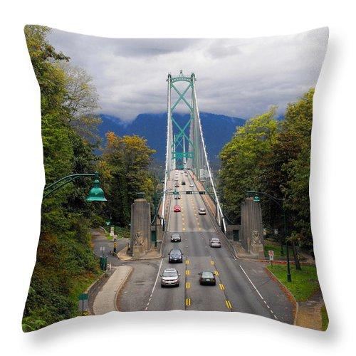 ruth Palmer Throw Pillow featuring the photograph Lion's Gate Bridge by Ruth Palmer