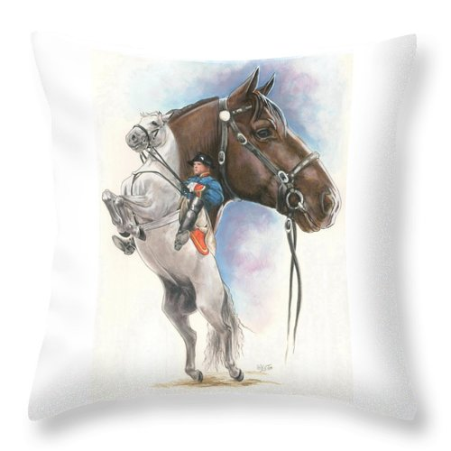 Spanish Riding School Throw Pillow featuring the mixed media Lippizaner by Barbara Keith