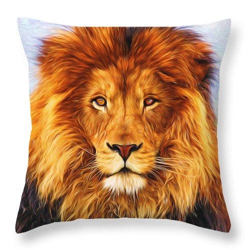 Lion Throw Pillow featuring the painting Liquid Lion #4 by Will Barger
