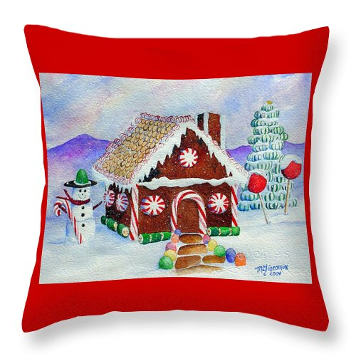 Christmas Throw Pillow featuring the painting Lisa's Gingerbread House by Mary Giacomini