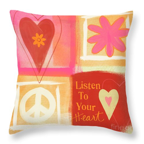 Hearts Throw Pillow featuring the painting Listen To Your Heart by Linda Woods