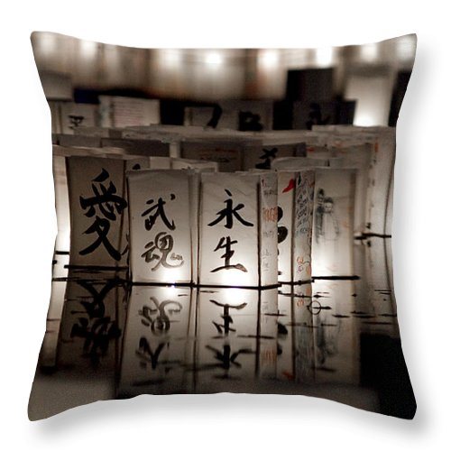 Japanese Lanterns Throw Pillow featuring the photograph Lit Memories by Greg Fortier