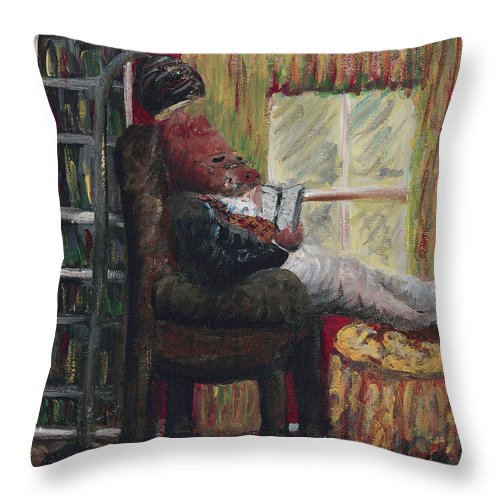 Hog Throw Pillow featuring the painting Literary Escape by Nadine Rippelmeyer
