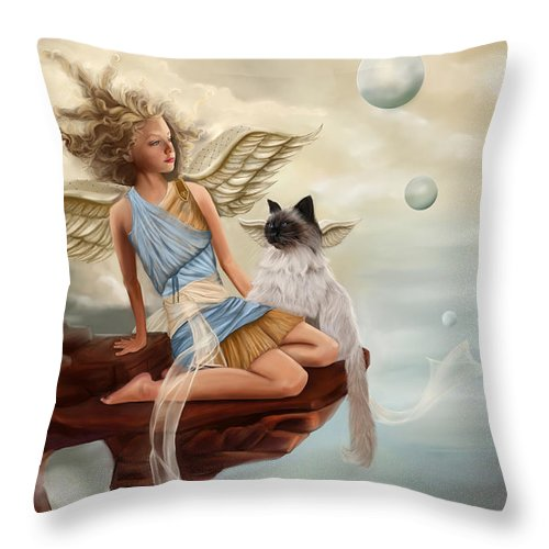 Angel Throw Pillow featuring the painting Little Angel by Maggie Terlecki