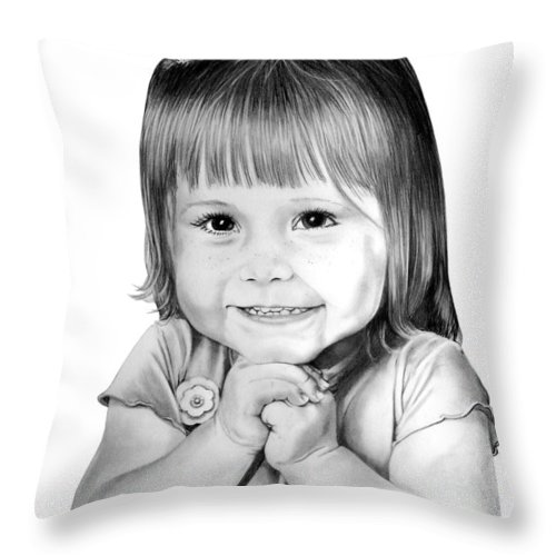 Child Throw Pillow featuring the drawing Little Bailey by Murphy Elliott