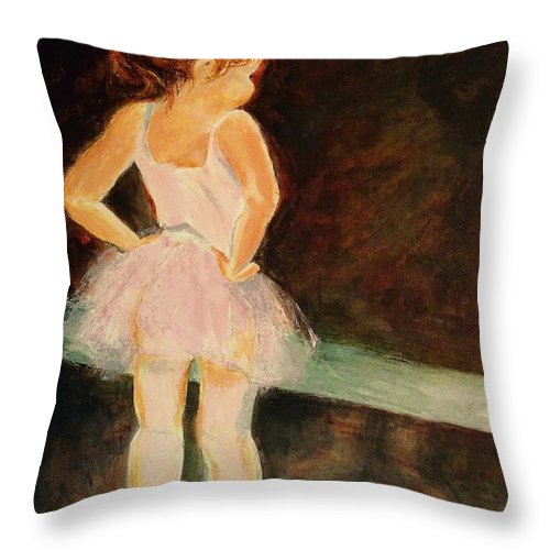 Ballerina Throw Pillow featuring the painting Little Ballerina by Madeleine Holzberg