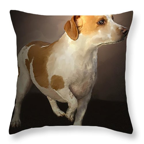 Staffordshire Terrior Throw Pillow featuring the painting Little Bit by David Wagner