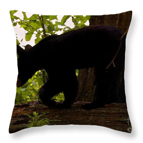 Black Bear Throw Pillow featuring the painting Little Black Bear by David Lee Thompson