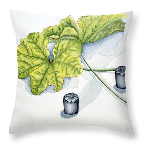 Candles Throw Pillow featuring the painting Little Black Candles by Judy Henninger