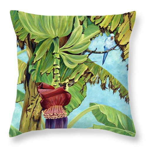 Tropical Throw Pillow featuring the painting Little Blue Quaker by Danielle Perry